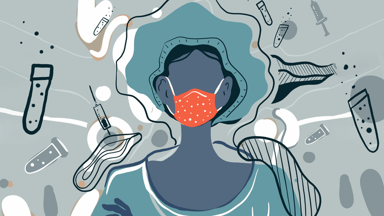 Illustration of a female healthcare worker wearing a red mask surrounded by vaccines and test tubes
