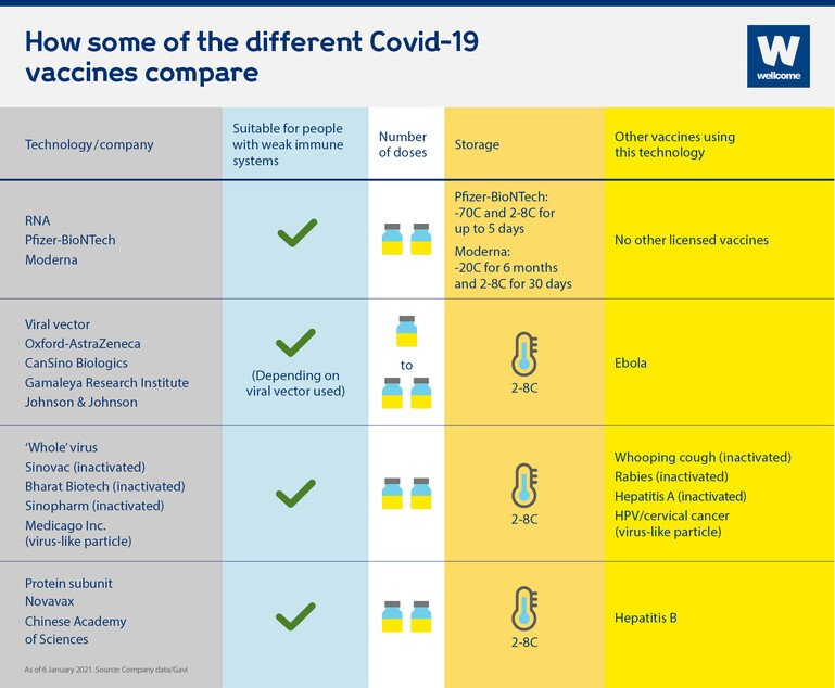 An infographic showing how some of the different Covid-19 vaccines compare