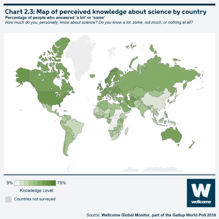 Chart 2.3: Map of perceived knowledge about science by country