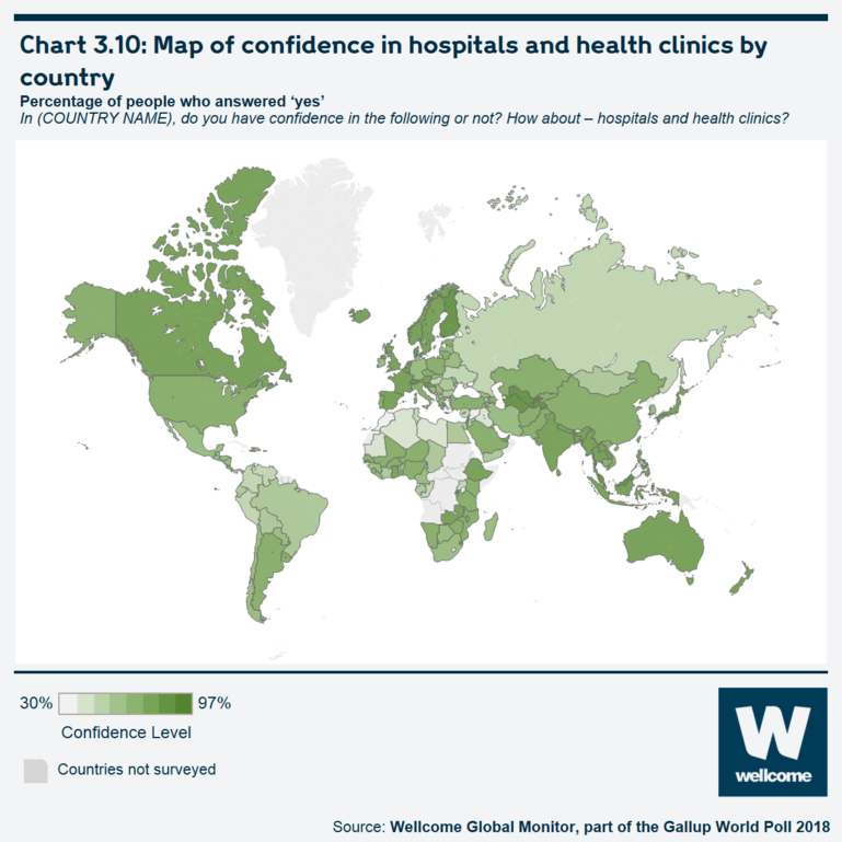 Chart 3.10 Map of confidence in hospitals and health clinics by country