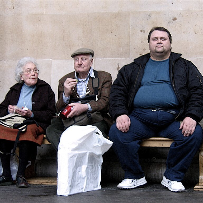 Three people sitting on a bench, and older man and woman and an overweight younger man.
