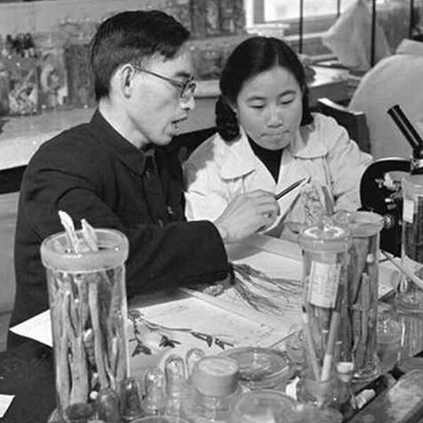 Dr Tu Youyou and her then-tutor Lou Zhicen in 1951
