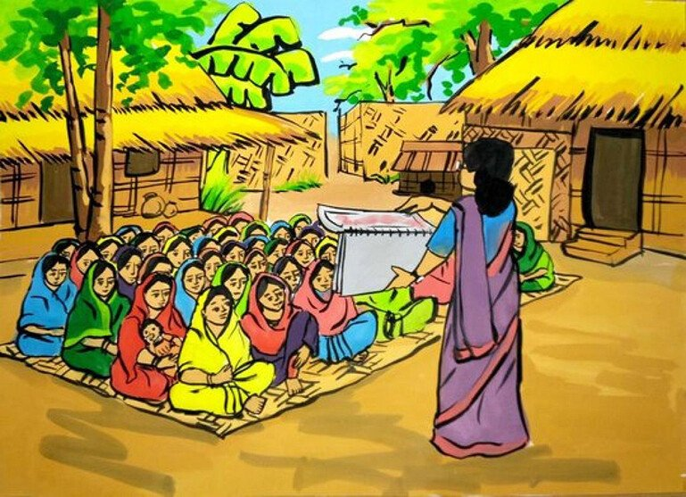 Illustration of a woman with a flipchart talking to a seated group in a village