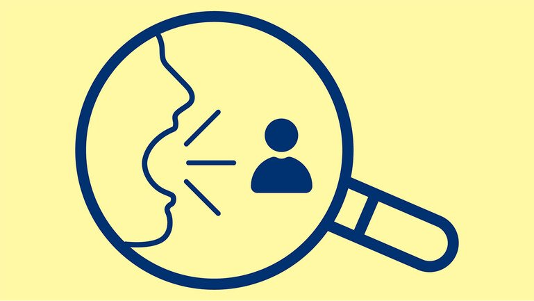 Illustration of a magnifying glass over a person speaking to another person