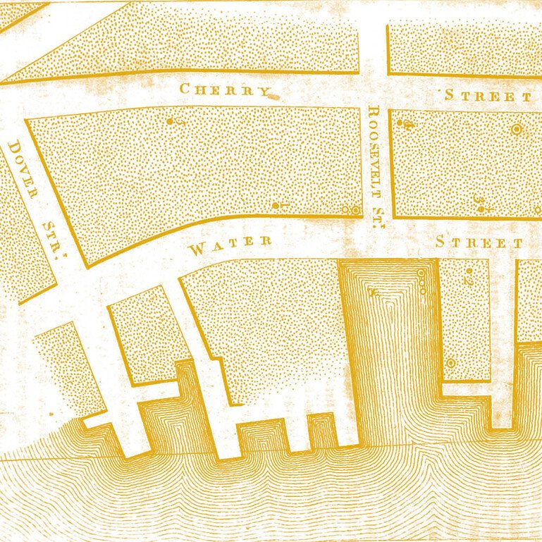 Detail from a map showing yellow fever cases near the New York waterfront in 1797