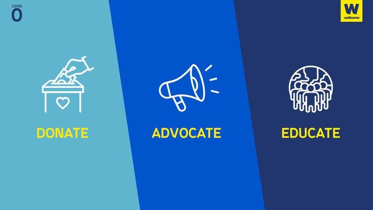 Graphic says: donate, advocate, educate.