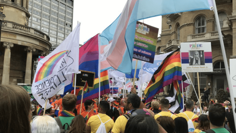 Wellcome staff taking part in the Pride in London parade in 2019