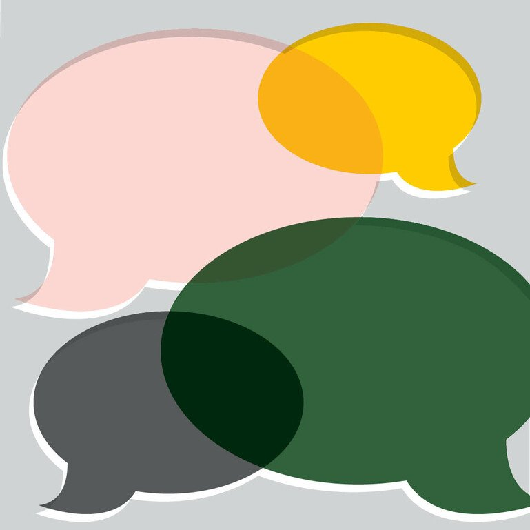 Illustration showing multiple speech bubbles