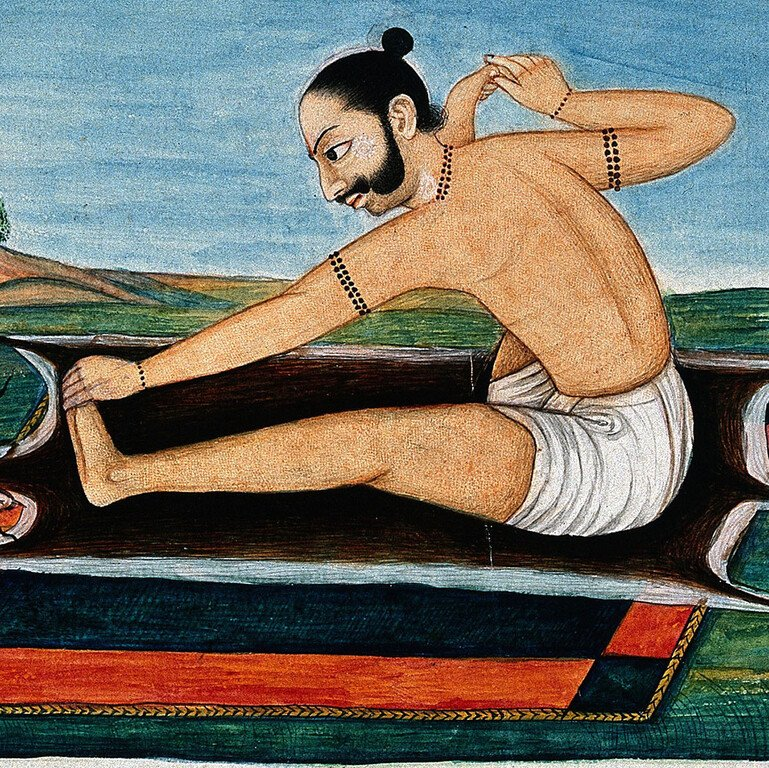 19th-century gouache painting of a man in a yoga posture
