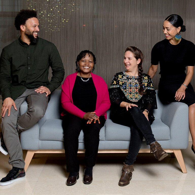 From left, Nabeel Petersen, Elizabeth Kimani, Sara Kenney and Anita Shevrington, four of Wellcome's new Engagement Fellows