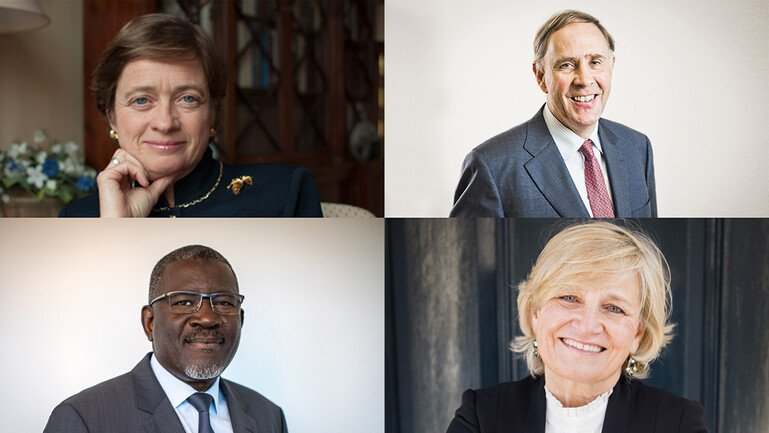 Images of new Wellcome governors (clockwise from top right) Richard Gillingwater, Cilla Snowball, Elhadj As Sy and Amelia Fawcett