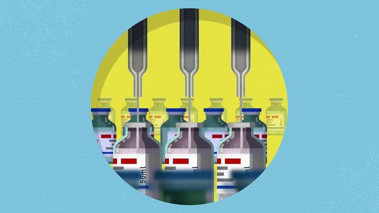 Vaccines on a conveyor belt