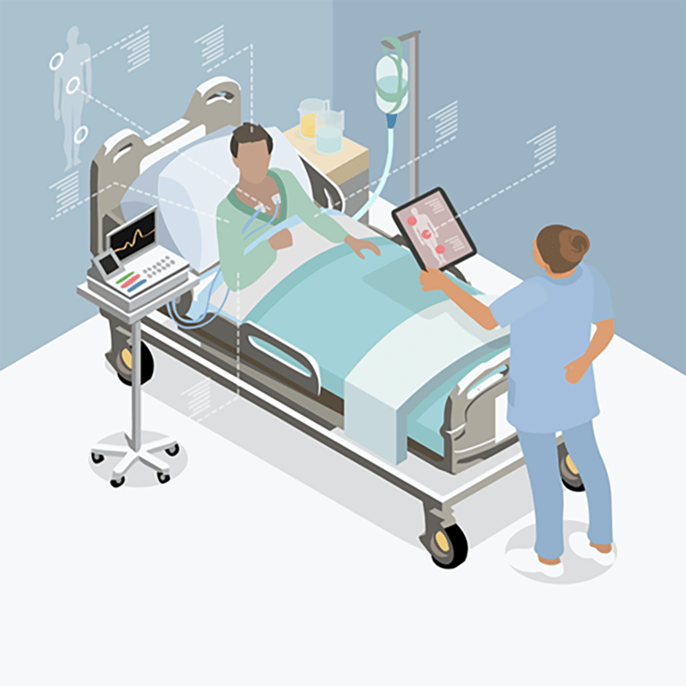 Illustration of a hospital patient and health carer.