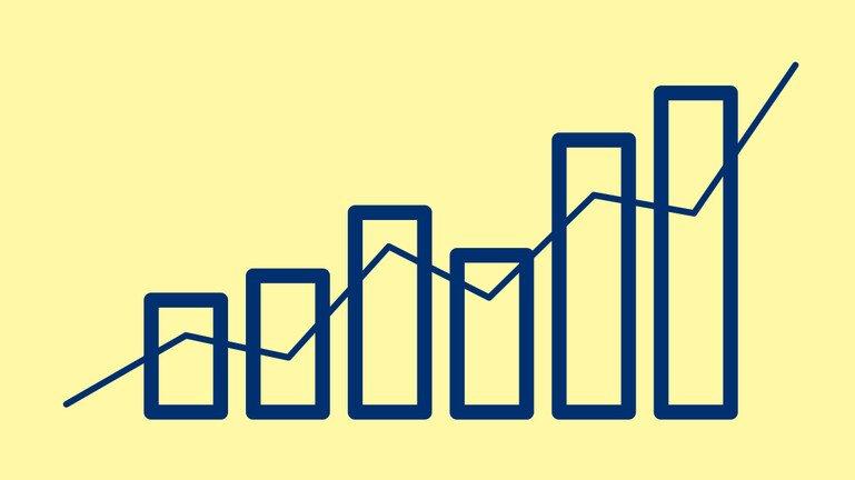 Illustration showing financial bar chart