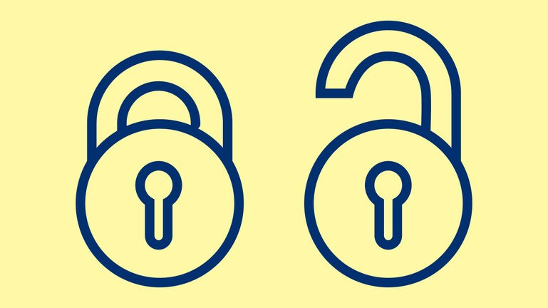 Illustration showing open access padlock symbol - one open, one shut