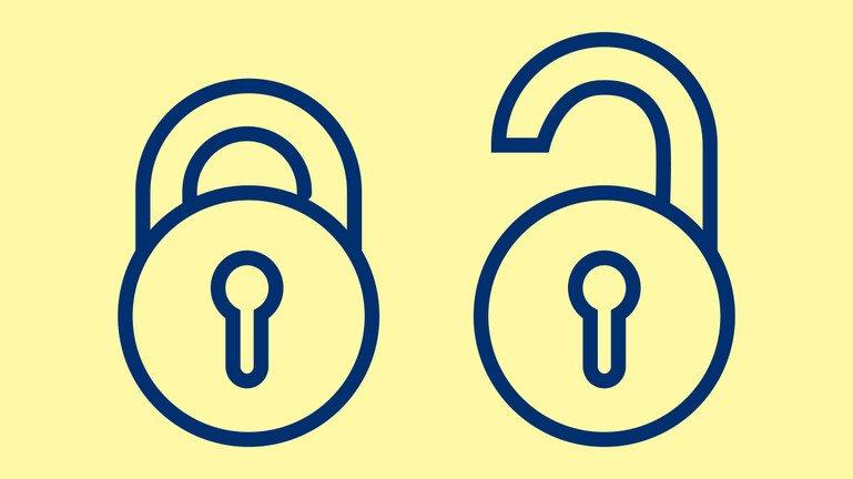 Illustration showing open access padlock symbol - one open, one shut