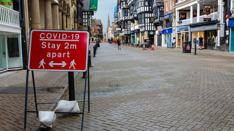 A general street scene of Chester City centre showing some traffic & pedestrian restrictions which have been put in place to allow social distancing due to Covid-19 pandemic.