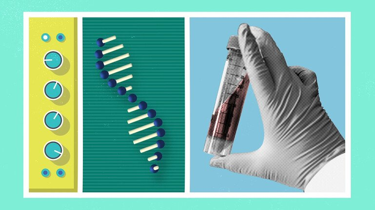 Hand holding a vaccine next to a sequence of messenger RNA genetic code