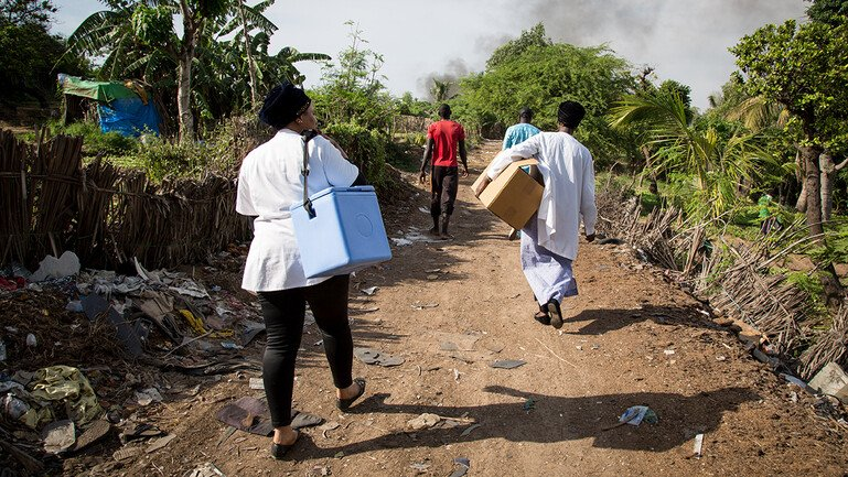 Four health workers carry portable vaccine cold storage boxes