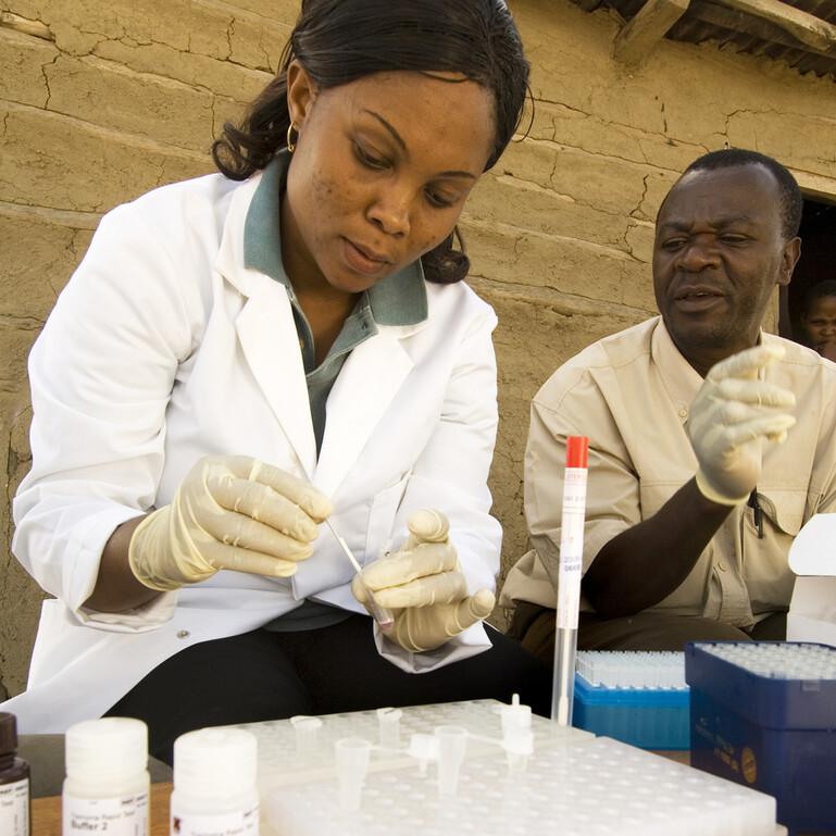 Researchers in a Maasai settlement in Tanzania